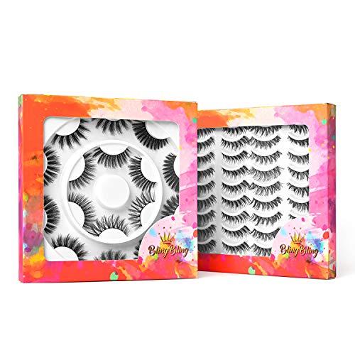 BlingBling 28 Pairs 3D Faux Mink lashes Handmade False Eyelashes Natural&Fluffy Wispy Extension Fake Eyelashes Dramatic Long Eyelashes Soft Reusable Lashes Pack 10 Styles.
