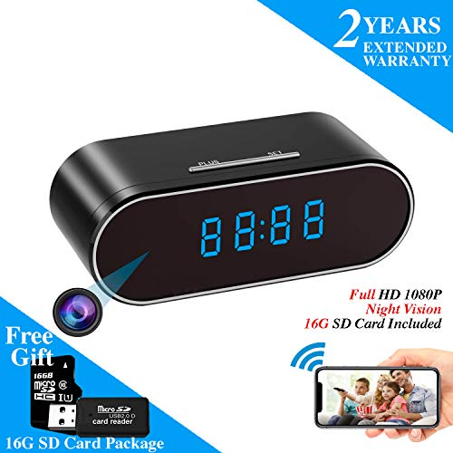 WEMLB HD 1080P WiFi Hidden Camera Alarm Clock Night Vision/Motion Detection/Loop Recording Wireless Security Camera for Home Surveillance - Spy Cameras
