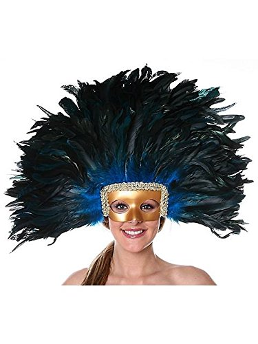 (Large Carnival Costume Feather Headdress - Turquoise Halloween Mask Cosplay Party Hair Accessory)