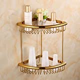 Bathroom Triangular Basket, Storage Basket, Bathroom Corner Shelf Bathroom European Style Antique Gold Bath Shelf,B3