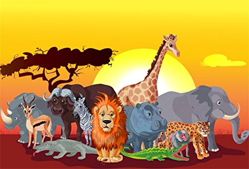 CSFOTO 8x6ft Background for Wildlife Animals Safari Party Photography Backdrop Birthday Party Decor Lion Giraffe Rhinoceros Elephant Sunset Celebration Child Photo Studio Props Vinyl Wallpaper ()