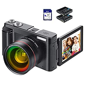 Video Camera Camcorder, FHD 1080P 24MP Camcorders Youtube Vlogging Camera 16X Digital Zoom 3.0 Inch 270 Degree Rotation…