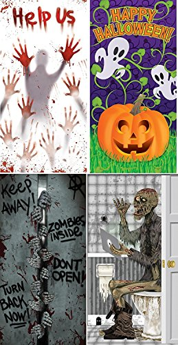 (Pack of 3 Chosen at Random) Door Covers - Help Us Pumpkin Vine Zombies Inside Skeleton on Toilet (Comes with Free How to Live Stress Free Ebook)