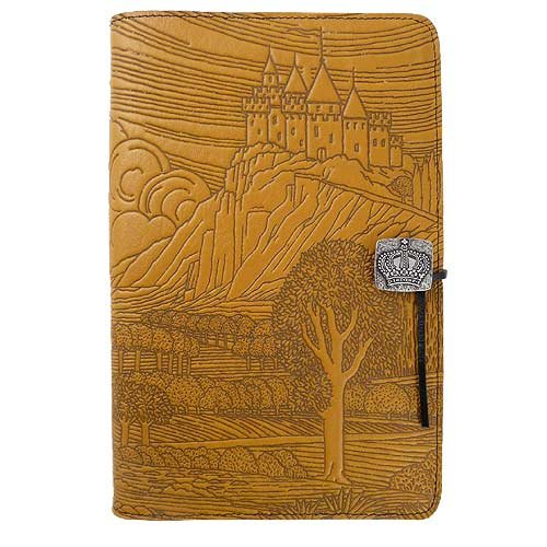 Modern Artisans Hilltop Castle American-Made Embossed Leather Writing Journal, 6 x 9-inch + Refillable Hardbound Insert Book