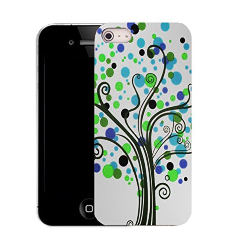 Mobile Case Mate IPhone 4 clip on Silicone Coque couverture case cover Pare-chocs + STYLET - blue hippie tree pattern (SILICON)