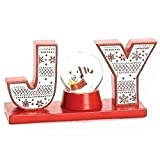 Roman Peanuts Woodstock and Snoopy Water Glitterdome Globe Holiday Joy Block Letters Table Top Decoration
