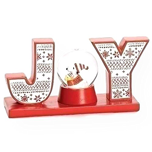 Roman Peanuts Woodstock and Snoopy Water Glitterdome Globe Holiday Joy Block Letters Table Top Decoration by Roman (Image #1)