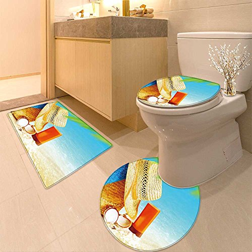 3 Piece Toilet Cover set Abstract Flora Swirl Extra Soft Memory Foam Combo - Rug, Contour Mat and Lid Cover