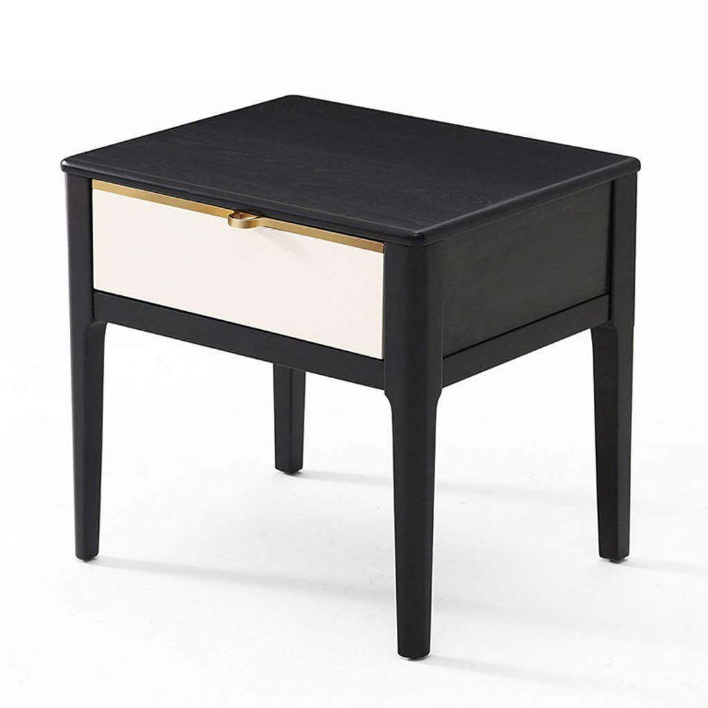 Bedside table End Tables Simple Modern Bedroom Storage Solid Wood Bedside Space Small Cabinet Economy Locker (Color : Black, Size : 493946cm) by Bedside table