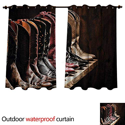 (WilliamsDecor Western Outdoor Balcony Privacy Curtain Photograph of Various Type of Rodeo Fancy Cowgirl Leather Boots Collection Image Art W108 x L72(274cm x 183cm))
