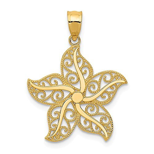 14k Yellow Gold Filigree Starfish Pendant Charm Necklace Sea Life Fine Jewelry Gifts For Women For ()