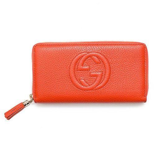 Gucci Soho Continental Cellarius Sun Orange Wallet Leather Zip Around New