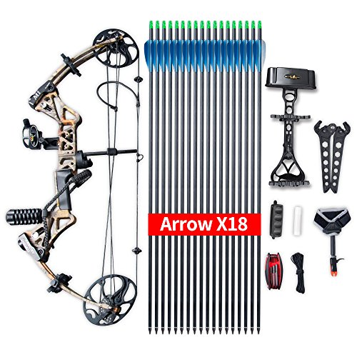 "(Compound Bow Ship from USA Warehouse,Topoint Archery Package,M1,19""-30"" Draw Length,19-70Lbs Draw Weight,320fps IBO Limbs Made in USA (Forest camo))"