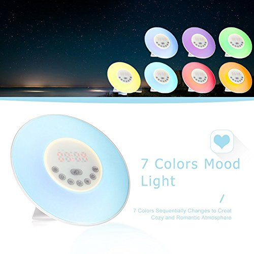 ANPI Multifunction Wake-Up Light, FM Radio, 6 Nature Sounds, Touch Control and USB Charger Sunrise and Sunset Simulation Perfect Suit for Bedside-Gift Set