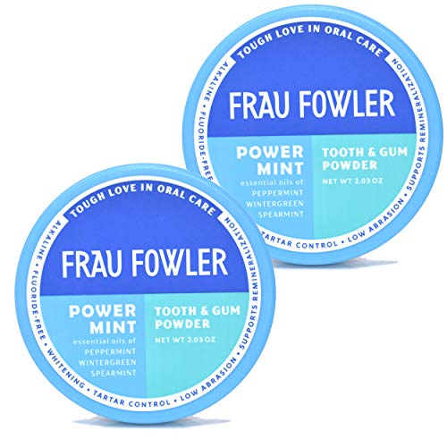 Frau Fowler Natural Oral Care - POWER MINT Tooth Powder, 2 Pack, Botanically Clean, Teeth-Whitening, Remineralizing, Fluoride Free, Gluten Free, SLS Free -Restores Enamel and Freshens Breath, 4 oz ()