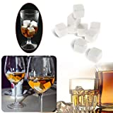 Whisky Stones Drinks Cooler Chilling Rocks Cubes Stones 9 Pcs for Scotch, Whiskey, Beer, Wine Wedding Christmas Bar Favor and More White with Flannel Bags