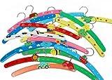 10x PCS Multi Coloured Wooden Childrens Baby Kids Coat Clothes Hangers