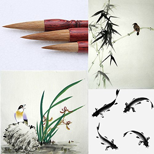 MB003 Hmay Artist's Calligraphy and Sumi Brushes 3pcs/pack - Good for Bamboo, Orchid and Fish Paintings & Kaishu Style Calligraphy by Hmay Brush Pen