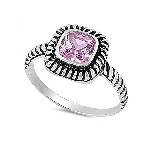 Ring Band Yurman David - Blue Apple Co. Bezel Solitaire Twisted Cable Oxidized Design Fashion Ring Princess Cut Pink Cubic Zirconia 925 Sterling Silver