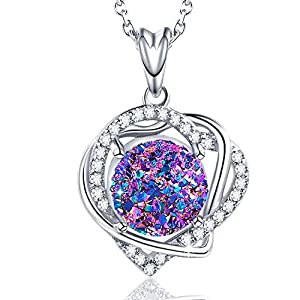 WISHMISS Women Sterling Silver Natural Rainbow Drusy Gemstone Necklace