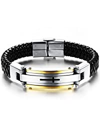 MOWOM Silver Gold Two Tone Black Stainless Steel Genuine Leather Bracelet Bangle Cuff Cross