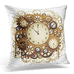 Sdamas Decorative Pillow Cover Antique Steampunk Style Clocks and Gears Punk Throw Pillow Case Square Home Decor Pillowcase 16x16 Inches
