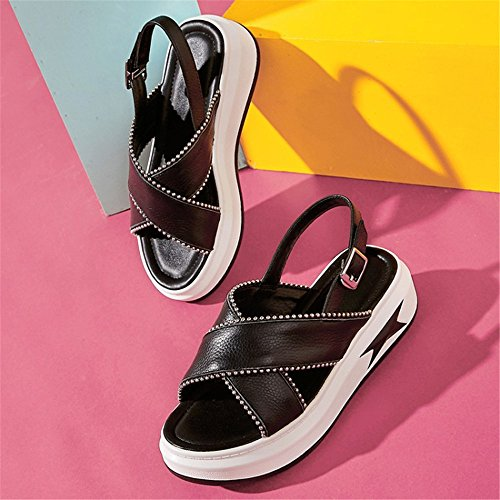 Blanco Verano Tama Wedge Heel Ligero Tacones 22 25 ora Se Negro Cuero Heightening a Adulto Altos 5cm 0cm o qCqwOfS