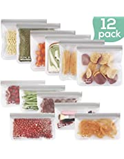 12 Pack FDA Grade Reusable Storage Bags (6 Reusable Sandwich Bags, 6 Reusable Snack Bags), Extra Thick Leakproof Silicone and Plastic Free Ziplock Lunch Bags Food Storage Freezer Safe