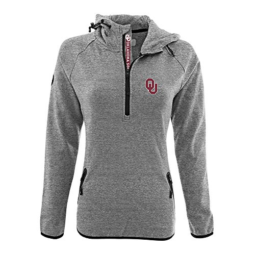 Levelwear LEY9R NCAA Oklahoma Sooners Women's Faint Insignia Bold Quarter Zip Mid-Layer Shirt, Medium, Heather Pebble - Pebble Oklahoma Sooners