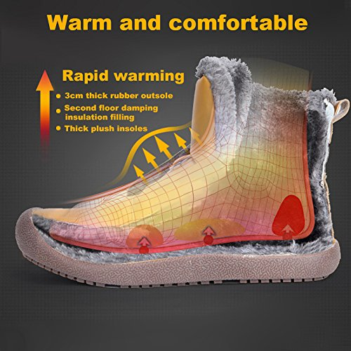 Lining Lightweight Snow Booties Outdoor RUN L Winter Warm Fur Boots Ankle yellow Fur Mens YAzxqtnxP