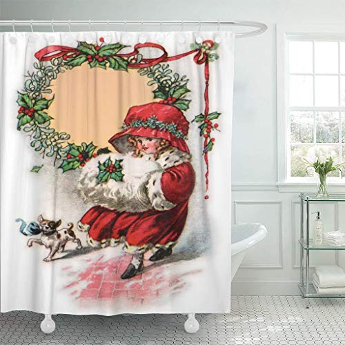 Emvency Waterproof Fabric Shower Curtain Hooks Red Old Little Girl in Christmas Bonnet Muffler 1916 Vintage Antique Extra Long 72