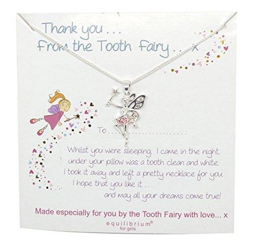 Mirabella BellaMira Girl's Tooth Fairy Necklace Charm Set - Flower Girl Locket - Fine Jewellery Present Gift Boxed (Tooth Fairy Necklace with Tooth Charm Set)