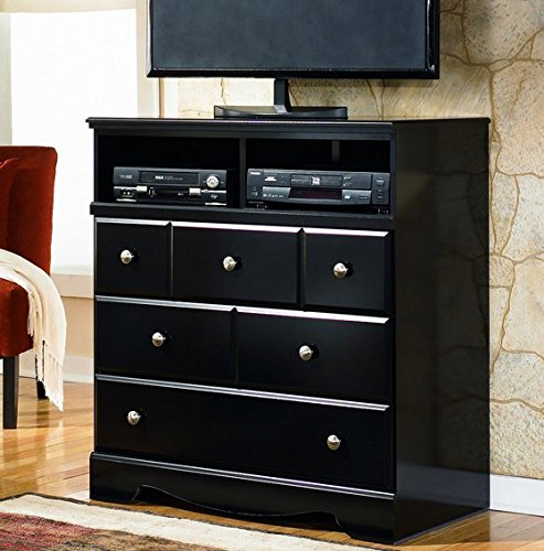 Ashley Furniture Signature Design - Shay Media Chest - 3 Drawers and 2 Cubbies - Contemporary - Almost Black by Signature Design by Ashley