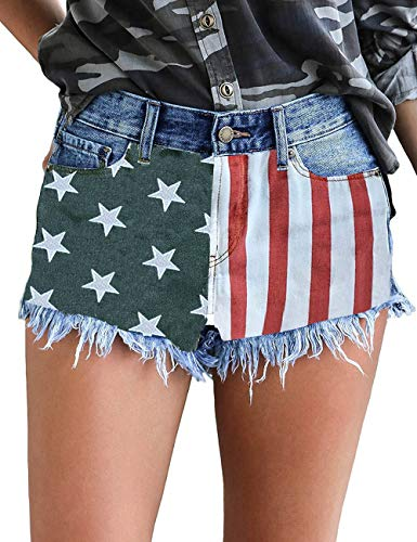 GRAPENT Women's Mid Rise Jean Short Casual Ripped Denim Jeans Shorts American Flag Size Medium