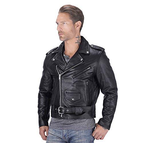 Mens Black Leather Biker Jacket - 5