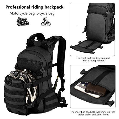 09742c2d831 ArcEnCiel 25L Tactical Motorcycle Cycling Backpack Military Molle Pack  Helmet Holder with Patch - Rain Cover