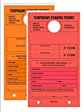 TEMPORARY PARKING PERMIT - Mirror Hang Tags, Numbered with Tear-Off Stub, 7-3/4'' x 4-1/4'', Bright Fluorescent Orange and Red, 50 Per Pack - Double-Pack (100 Tags)