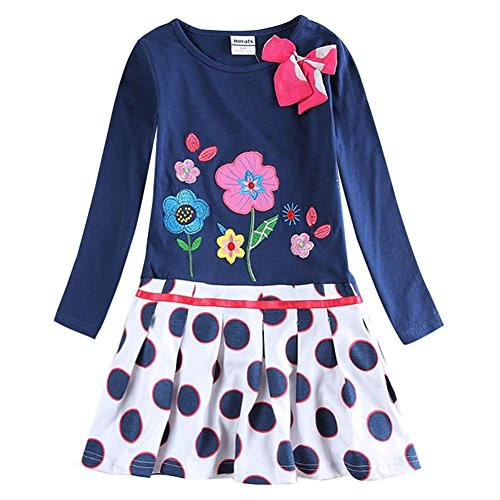 The Most Popular Girls In School Costume (Novatx Long Sleeve Soft Baby Girl Dress H5081 Navy (2/3y))