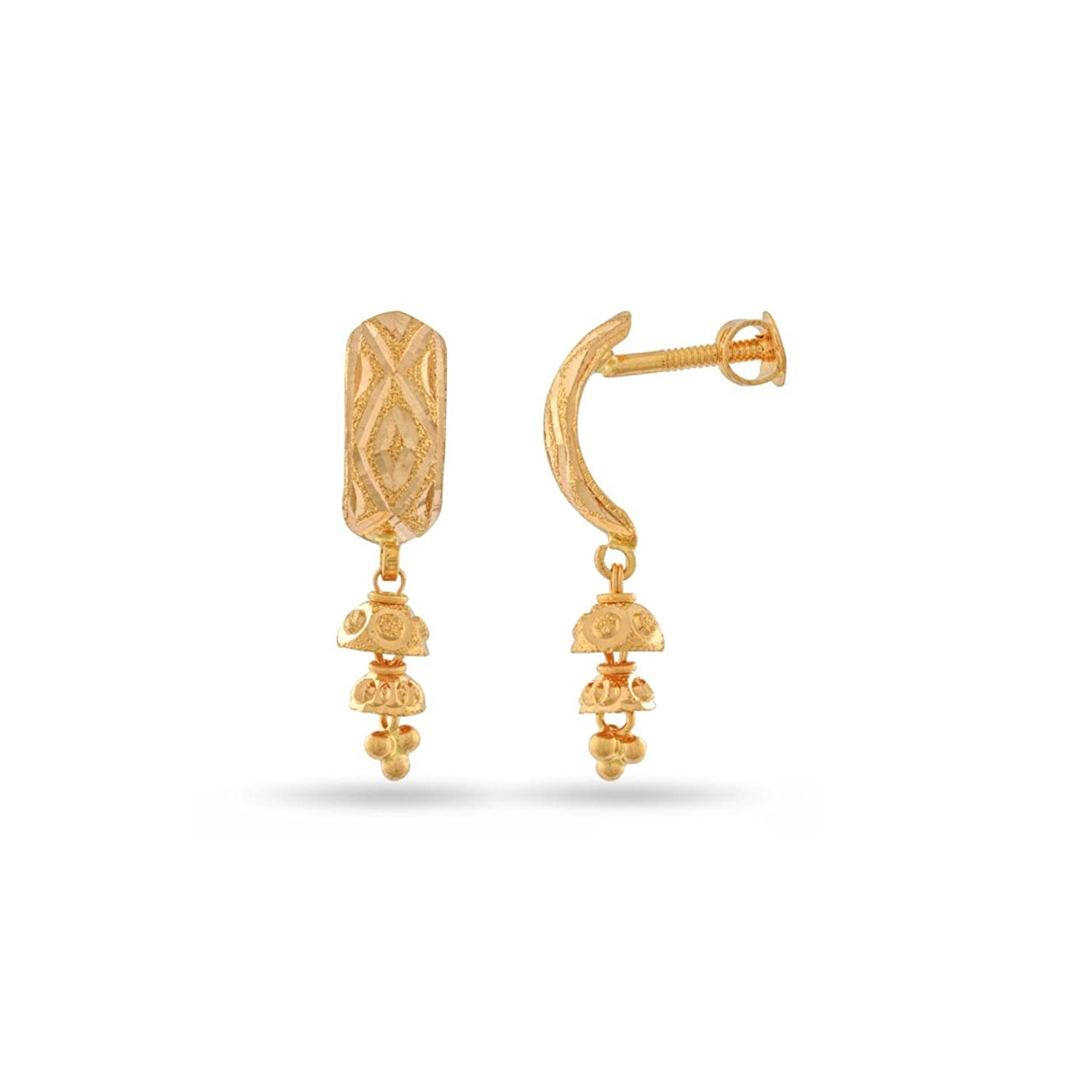 Buy WHP Jewellers 22k Yellow Gold Drop Earrings Online at Low ...