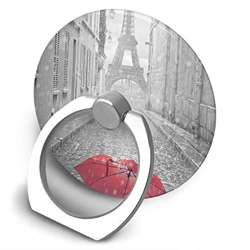 Cooby Roman Circular Cell Phone Stand Paris Red Umbrella Art Finger Ring Stand Holder - Finger Grip Kickstand 360 Rotation for iPhone and More Smartphones