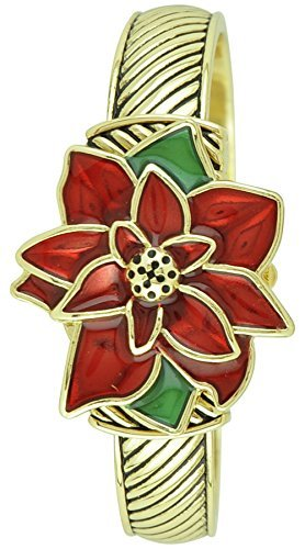 Moulin Women's Holiday Poinsettia Gold Bangle Watch (Christmas Bangle Watch)
