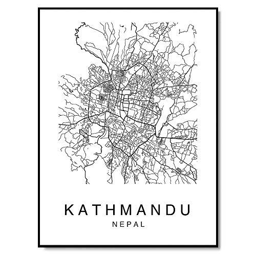 Kathmandu Map Wall Art Poster Print Nepal City Map Street Black & White (Photo Moments Cherished Frame)