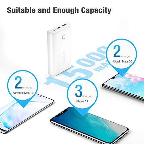 Poweradd 15000mAh Portable Charger High-Speed Charging Power Bank Dual Ports External Battery Compatible for iPhone11/11 Pro/X/XS/XR, iPad, iPod, Samsung, HUAWEI,Nintendo Switch and Tablets-White