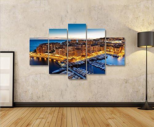 islandburner Cadre Moderne Monaco V2/Monte Carlo Harbor Marina Impression sur Toile/ /Cadre x fauteuils Salon Cuisine Meubles Bureau Maison/ /Photo Format XXL Carreaux