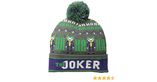 3c77102b68f Amazon.com  Batman Men s Joker Fair Isle Cuff Pom Beanie Grey One Size   Clothing