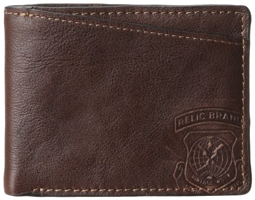 Fossil Embossed Wallet - Relic Men's Hatch Traveler Wallet, Brown, One Size