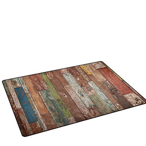 Sunlome Vintage Plank Barnwood Pattern Area Rug Rugs Non-Slip Indoor Outdoor Floor Mat Doormats for Home Decor 31 x 20 inches