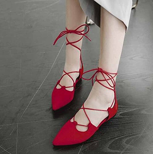SHOWHOW Womens Elegant Suede Pointed Toe Low Top Self-tie Flats Heel Pumps Shoes Red csCLId4hC7