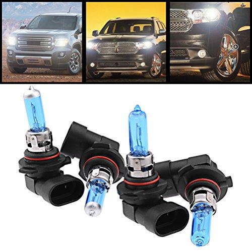 Amazinea 2X 9006 HB4 Low Beam Lamp + 2pcs 9005 H10 High Beam Light Xenon White Halogen Headlight Bulb Set