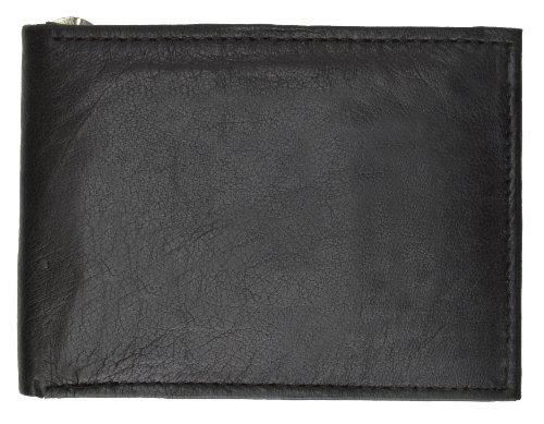 Thim Mens Wallet Spring Leather Wallet Money Black Billfold Marshal Clip Wallet 6 Cards Slim vqa05T